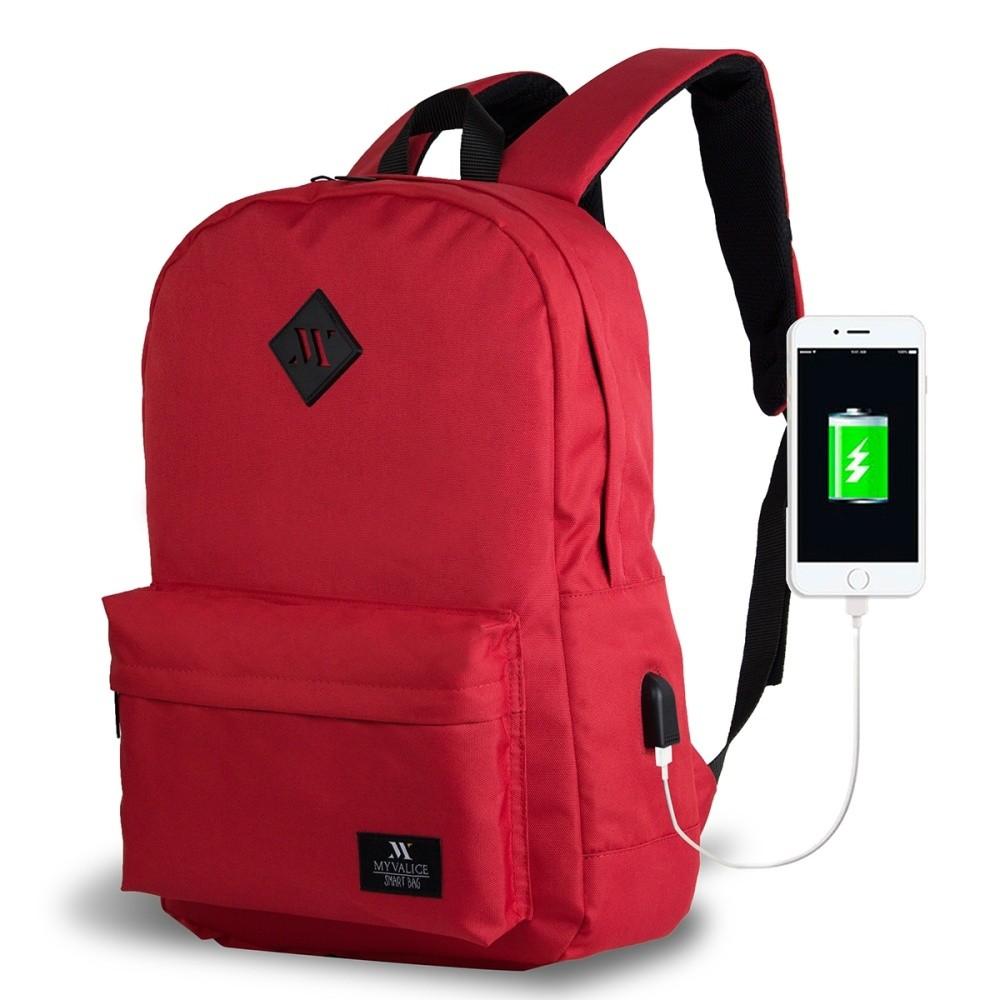 Červený batoh s USB portom My Valice SPECTA Smart Bag