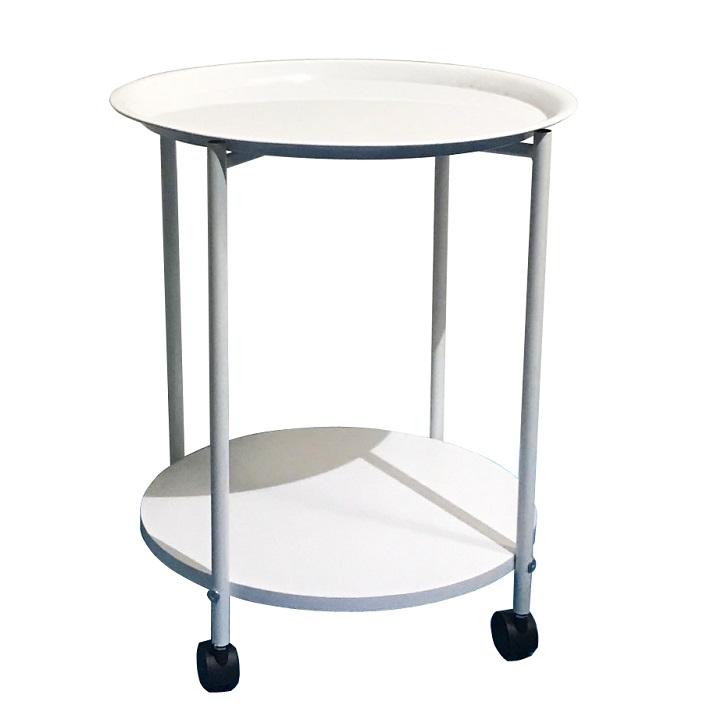 TEMPO KONDELA Príručný stolík s kolieskami, biela, DERIN