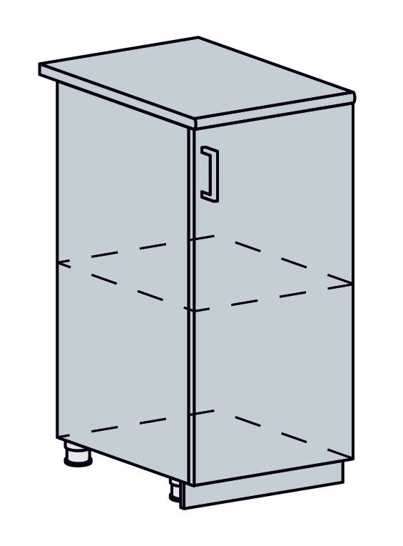 VALENCIA dolná skrinka 1-dverová 40D, biela/čierny dážď