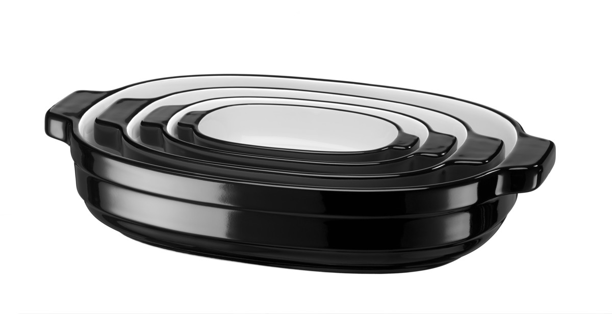 Sada keramických pekáčov KitchenAid čierna 4 ks