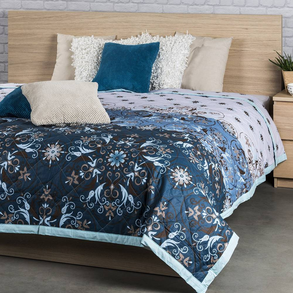 Prehoz na posteľ Alberica modrá, 160 x 220 cm
