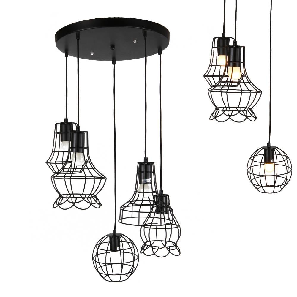 [lux.pro]® Dekoratívna dizajnová design závesná lampa / stropná lampa - čierna (5 x E27)