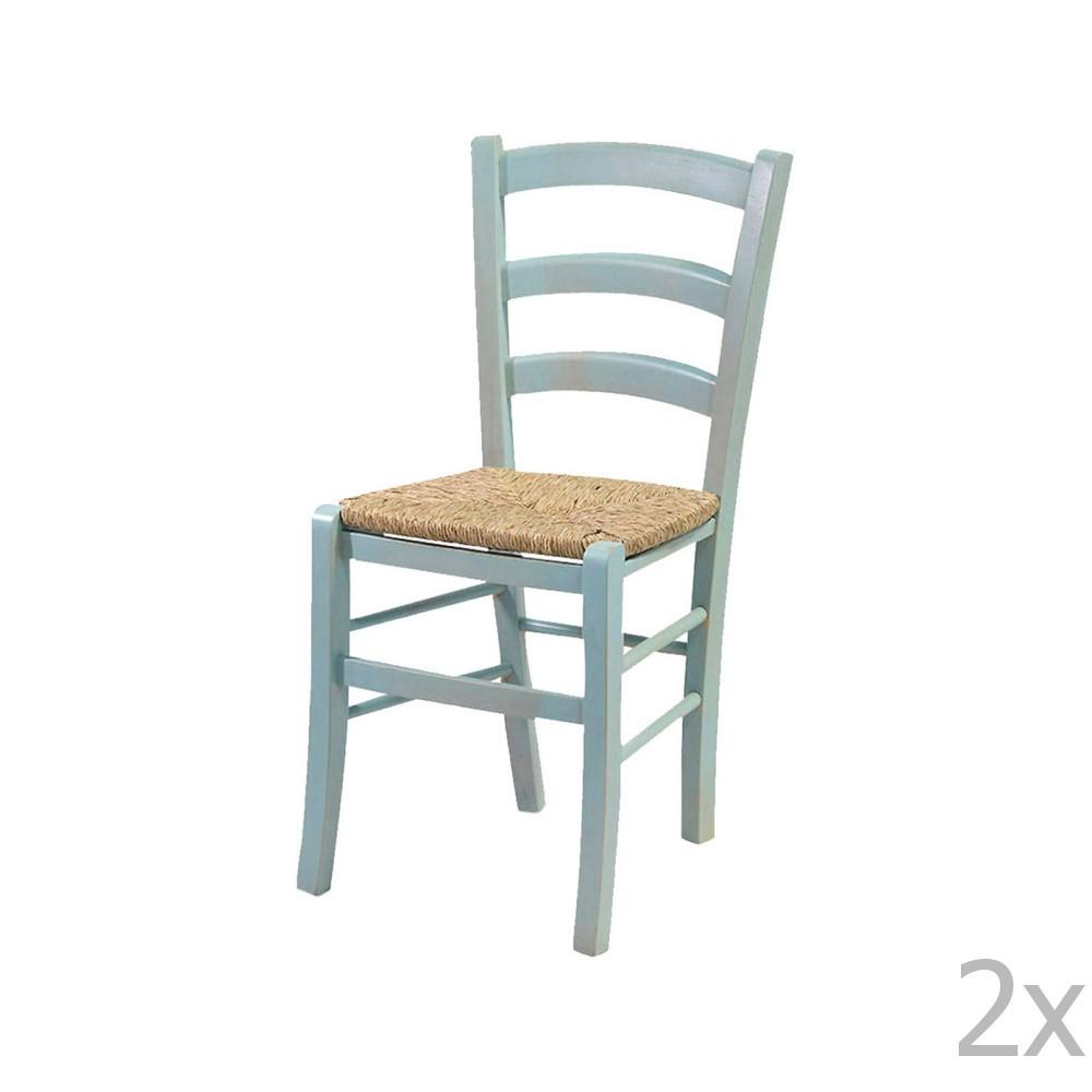 Sada 2 modrých stoličiek z masívneho dreva Crido Consulting Straw
