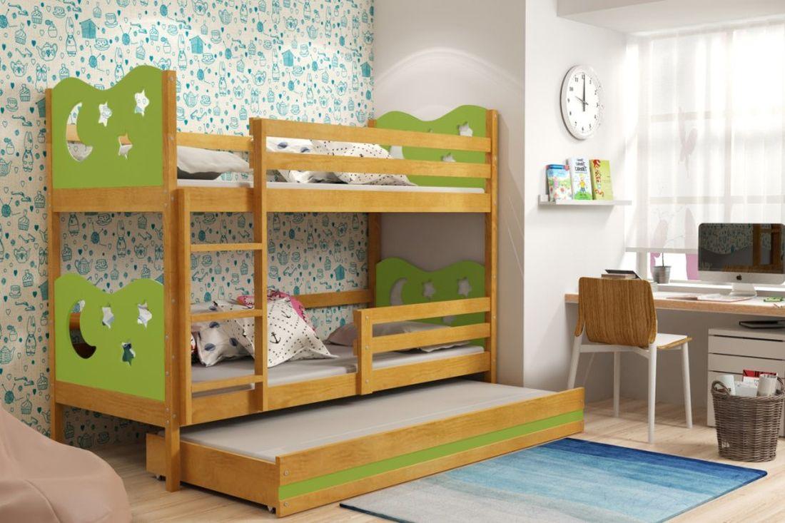 Poschodová posteľ KAMIL 3 + matrac + rošt ZADARMO, 80x190, jelša/zelená