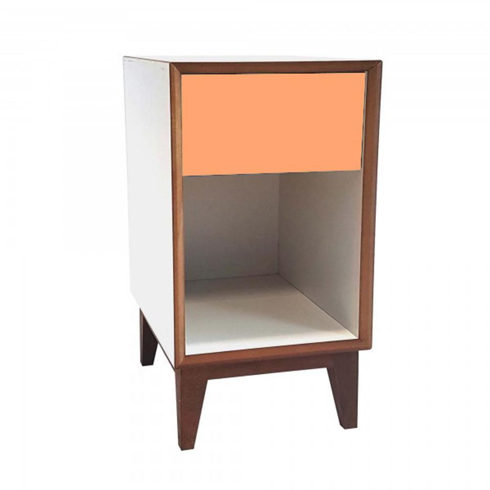 Veľký nočný stolík s bielym rámom a oranžovou zásuvkou Ragaba PIX