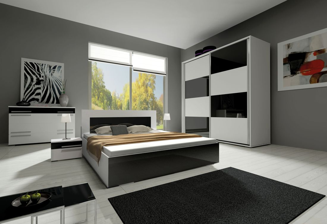 Ložnicová sestava KAYLA II (2x noční stolek, komoda, skříň 200, postel 160x200), bílá/černá lesk