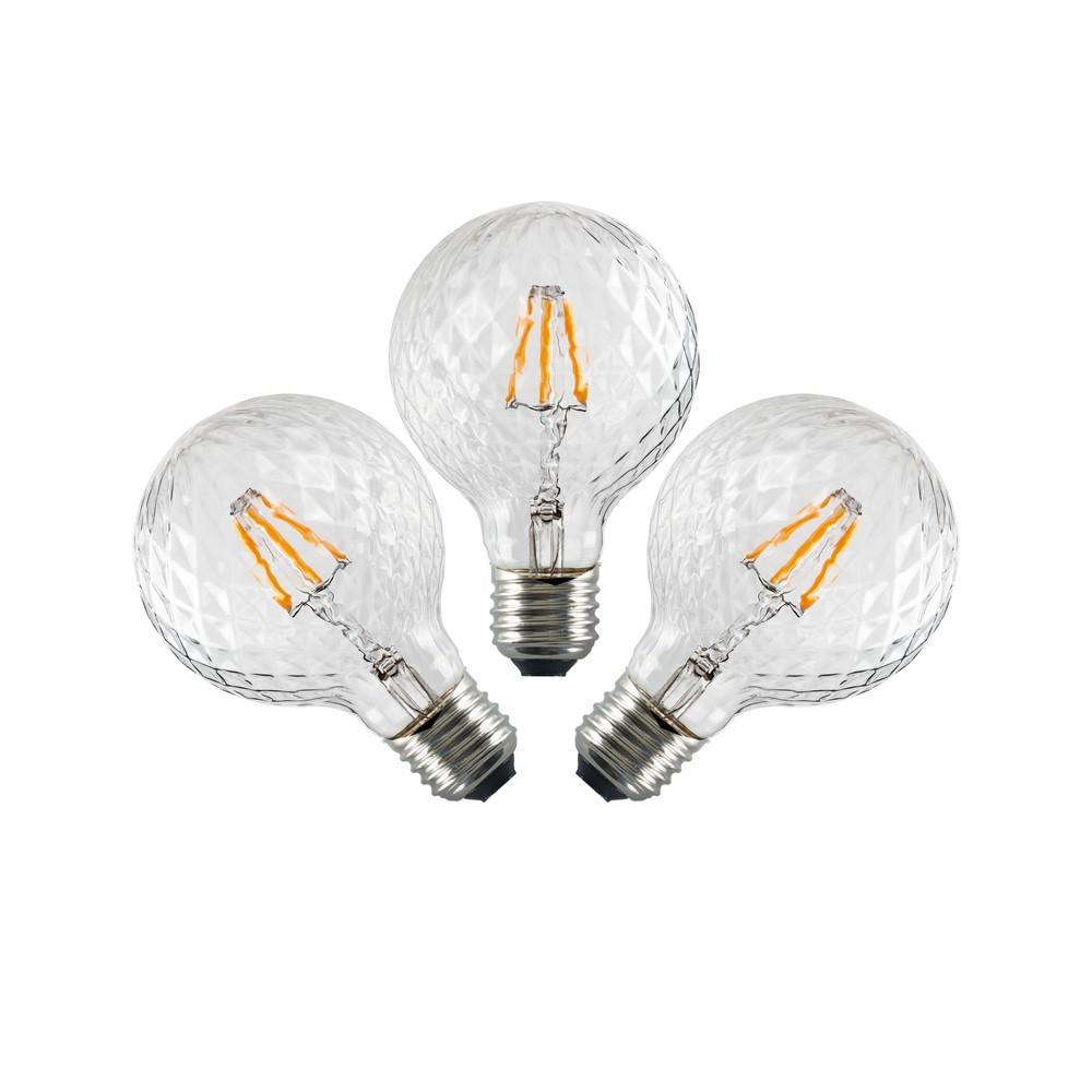 Sada 3 LED žiaroviek Bulb Attack GLOBE Clear Crystal Linear, 5,5 W