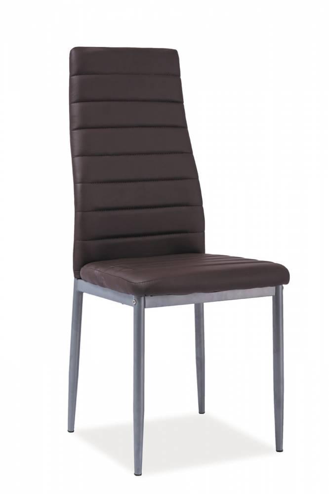 Jedálenská stolička H-261 alu (ekokoža hnedá)
