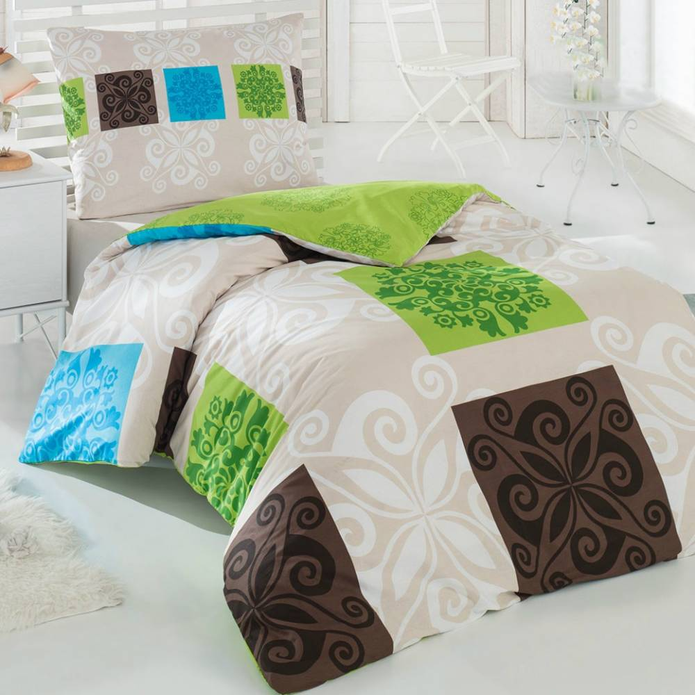 Obliečky Sedef zelené 200x140 cm + 90x70 cm, 140 x 200 cm, 70 x 90 cm