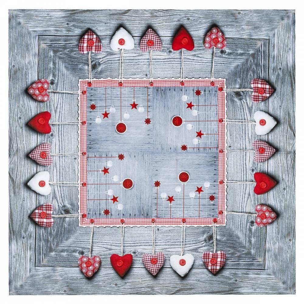 BO-MA Trading Vianočný obrus Ozdoby látkové, 85 x 85 cm