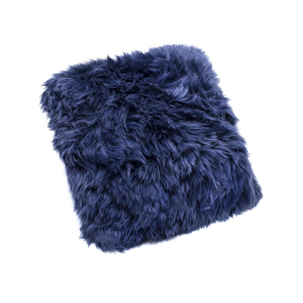 Tmavomodrý vankúš z ovčej vlny Royal Dream Sheepskin, 45×45cm