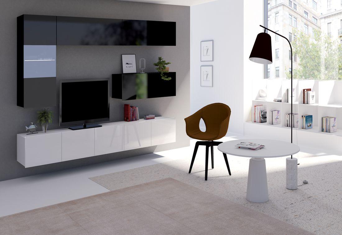 Obývacia zostava BRINICA NR4, čierna/čierny lesk + biela/biely lesk + biely LED