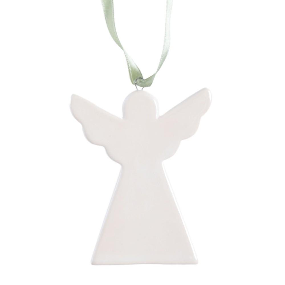 Biela závesná keramická dekorácia Ewax Angel