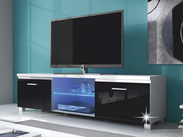 TV stolík/skrinka Lugo 2 (biela + extra vysoký lesk čierny) (s osvetlením)
