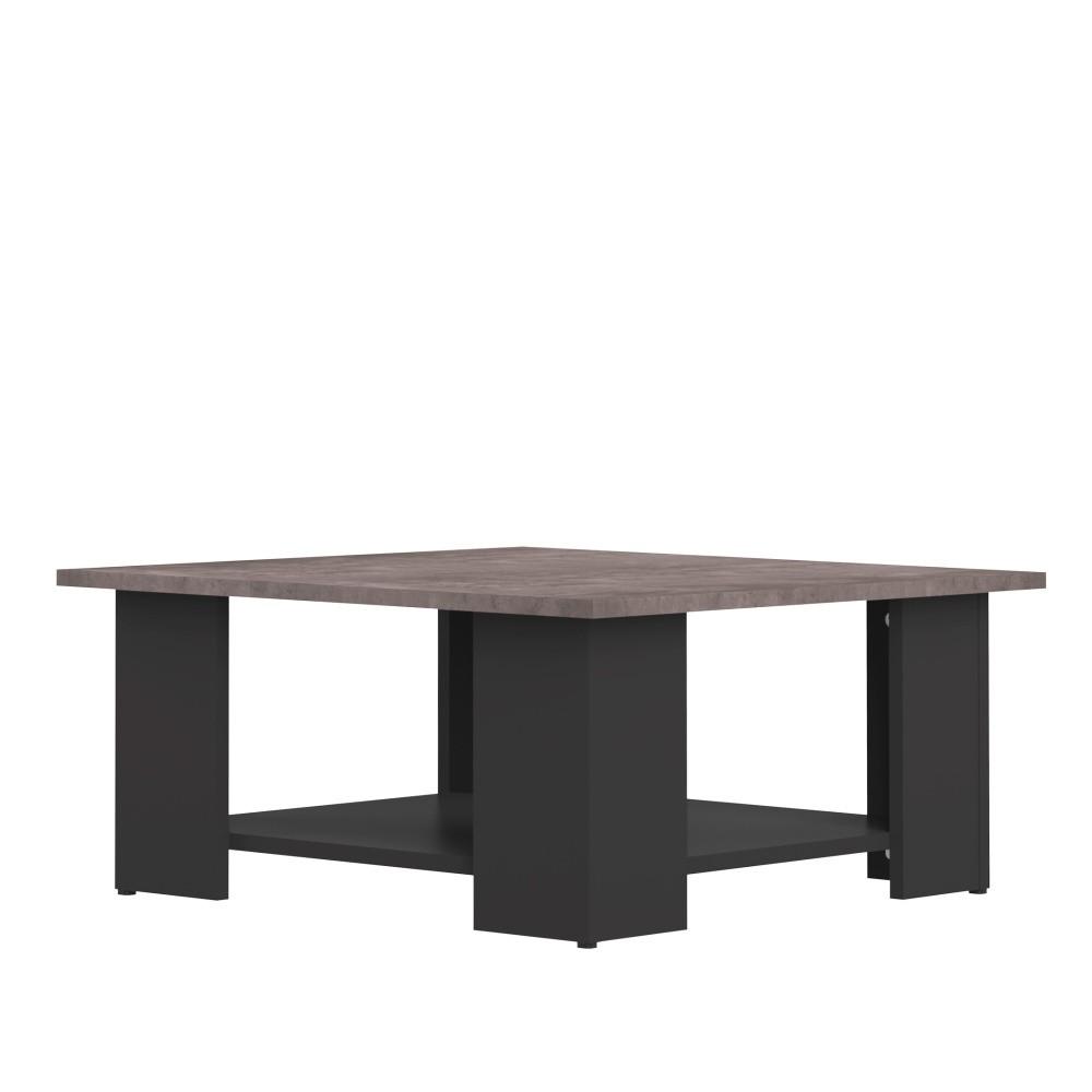 Čierny konferenčný stolík s doskou v dekore betóne Symbiosis Square, 67 × 67 cm