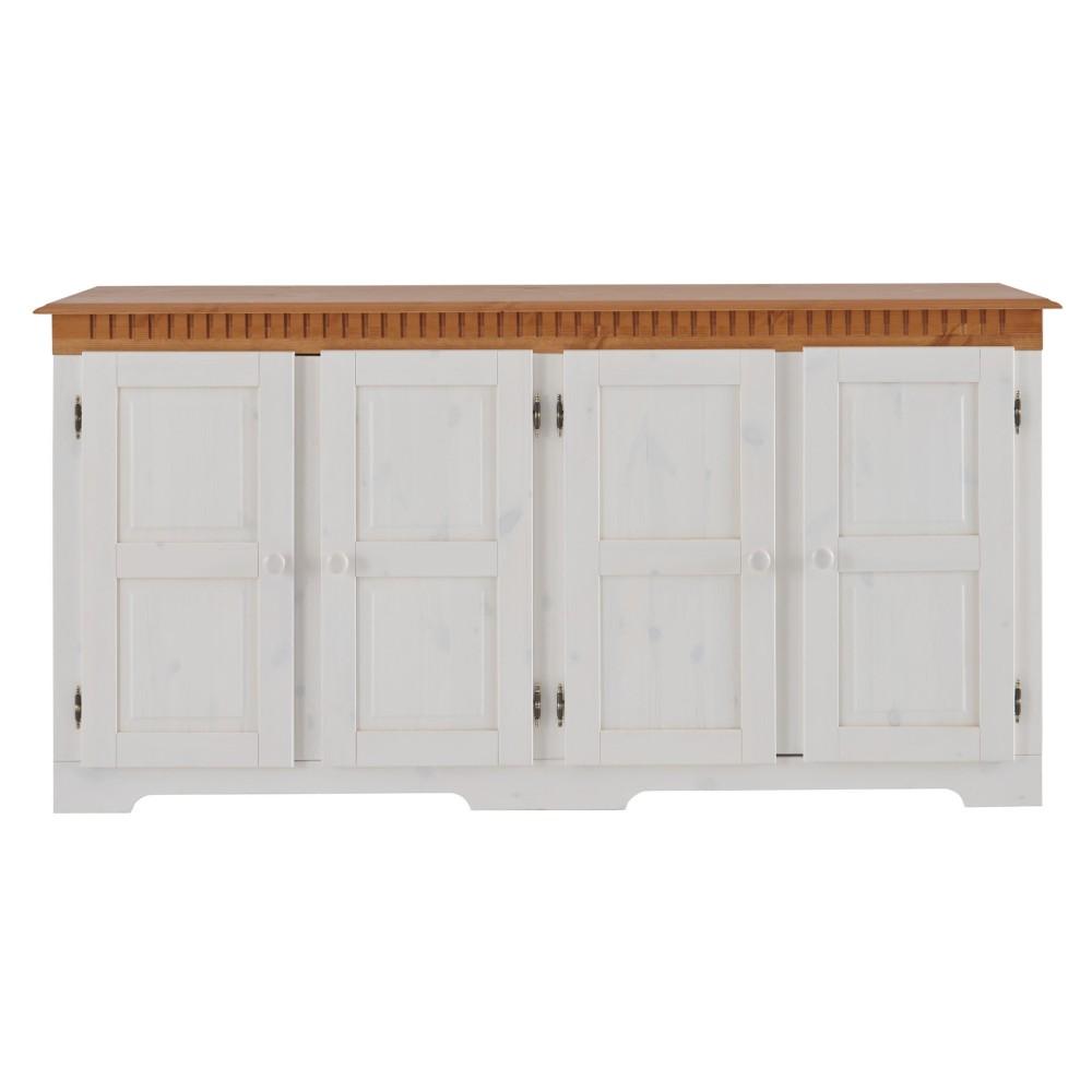 Biela štvordverová komoda z masívneho borovicového dreva s hnedými detailmi Støraa Linda