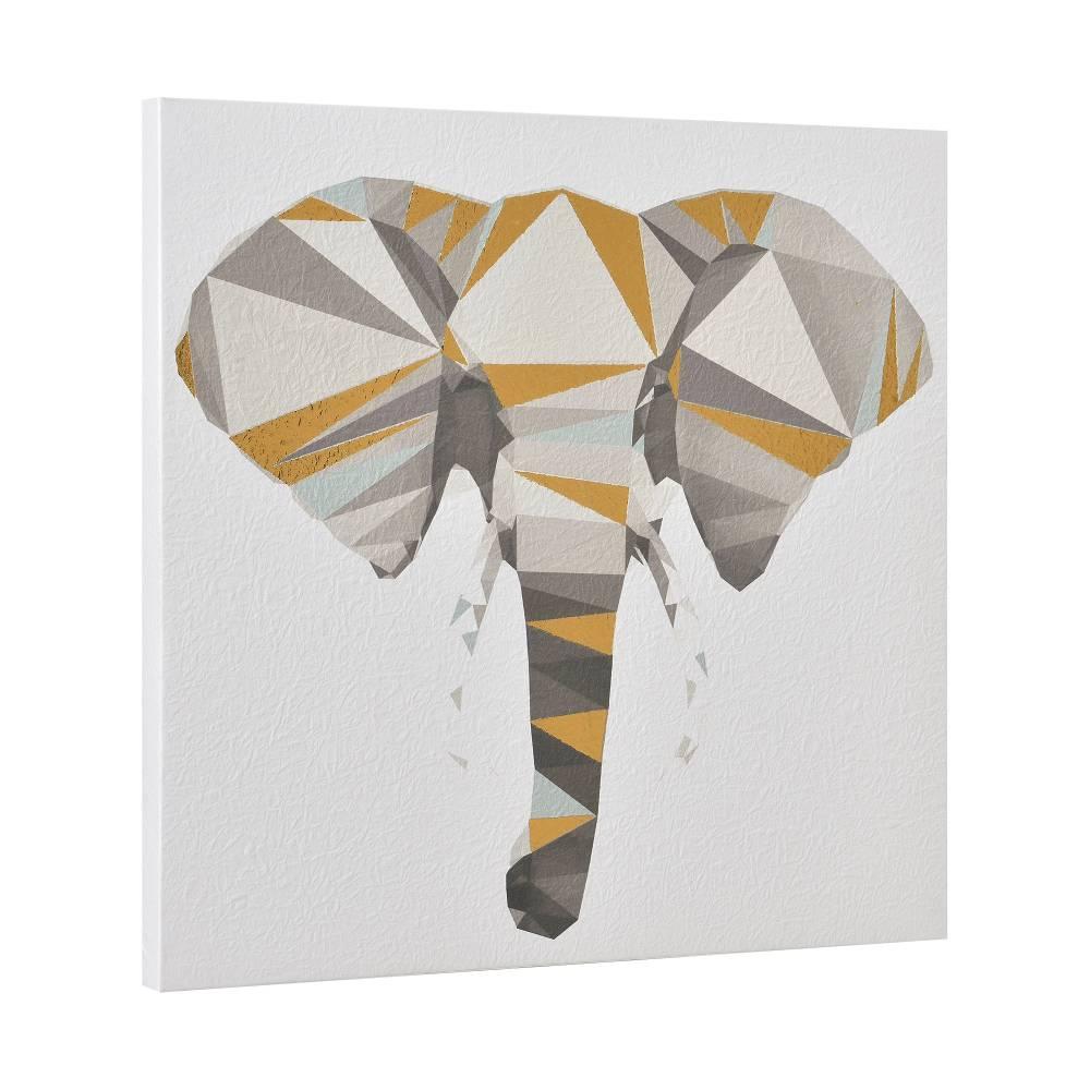 [art.work] Dizajnový obraz na stenu - tlač na pergamenový papier - slon - napnutý na ráme - 40x40x2,8 cm