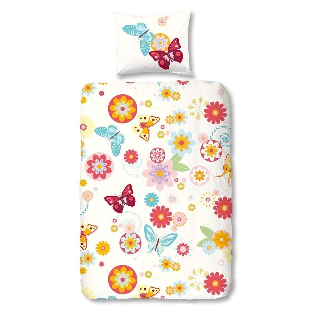 Detské bavlnené obliečky Müller Textiels Flower Butterfly, 140 x 200 cm