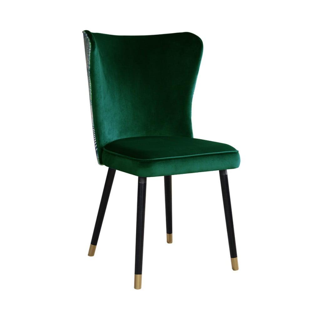 Zelená jedálenská stolička s detailmi v zlatej farbe JohnsonStyle Odette Eden