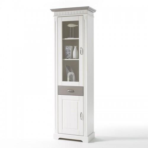 Biely nábytok Vitrína Costa, dekor biela /starošedá, masív, borovica (PRAVÁ)