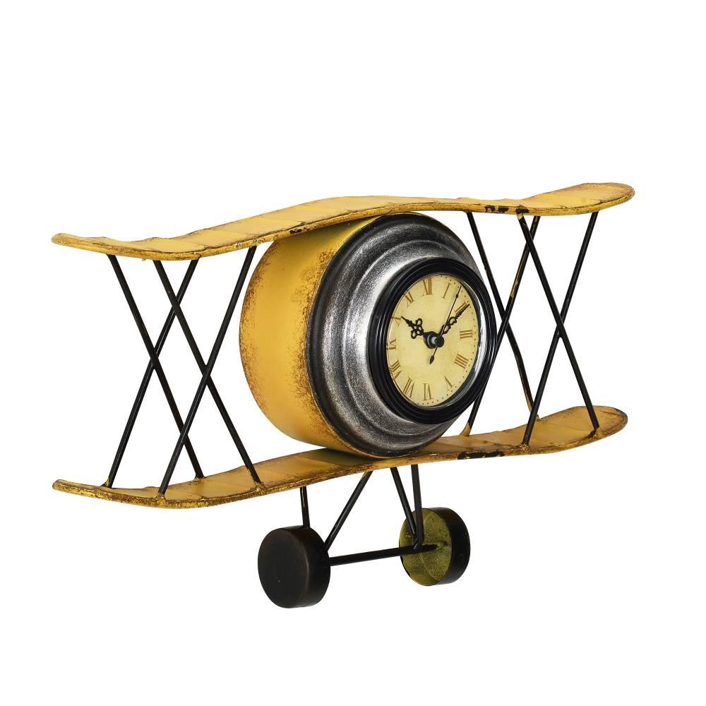 [en.casa]® Nástenné hodiny v tvare dvojplošného lietadla - analógové - 38 x 7 x 21,5 cm - farebné