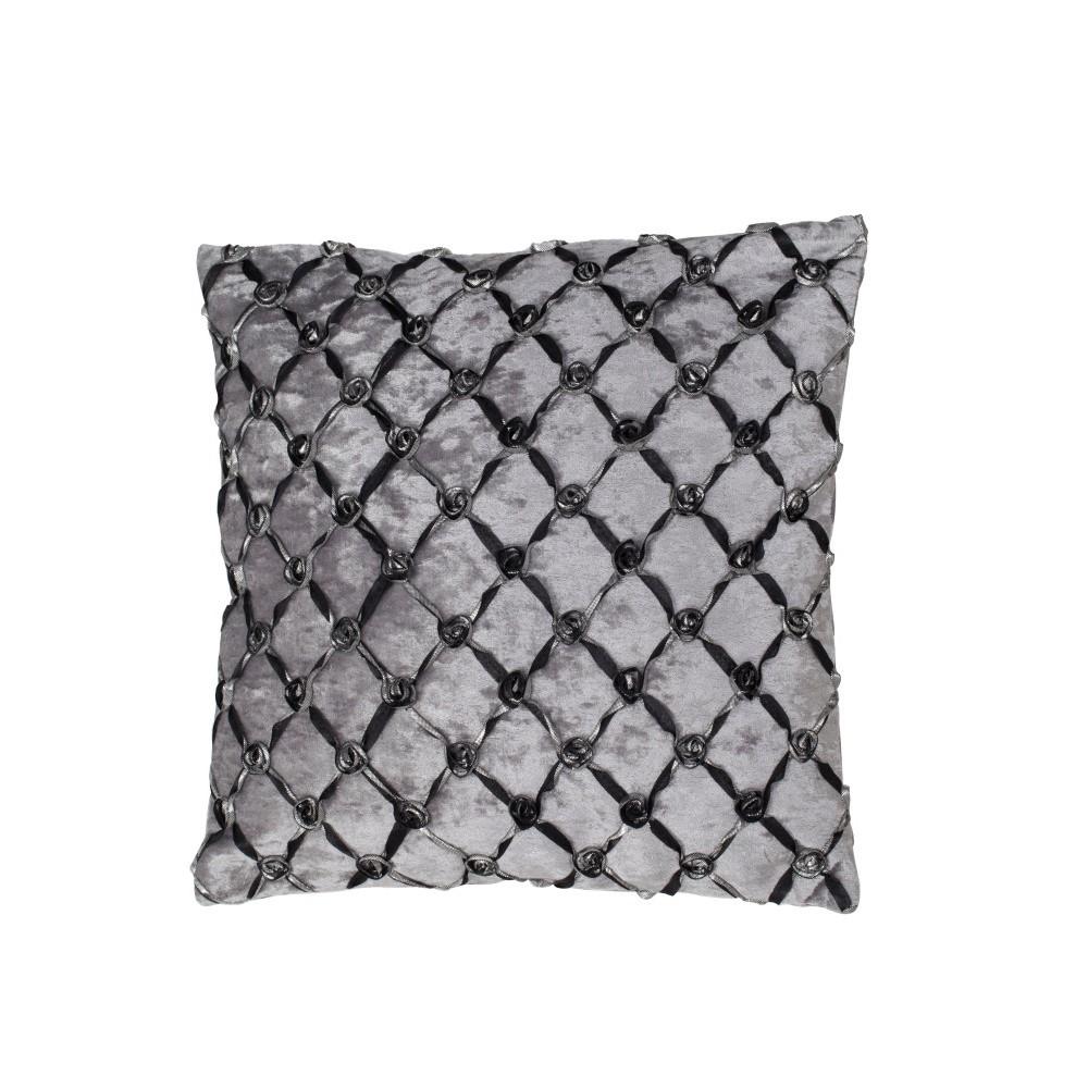 Sivo-čierna obliečka na vankúš Mauro Ferretti Roselline Grigio, 40×40cm