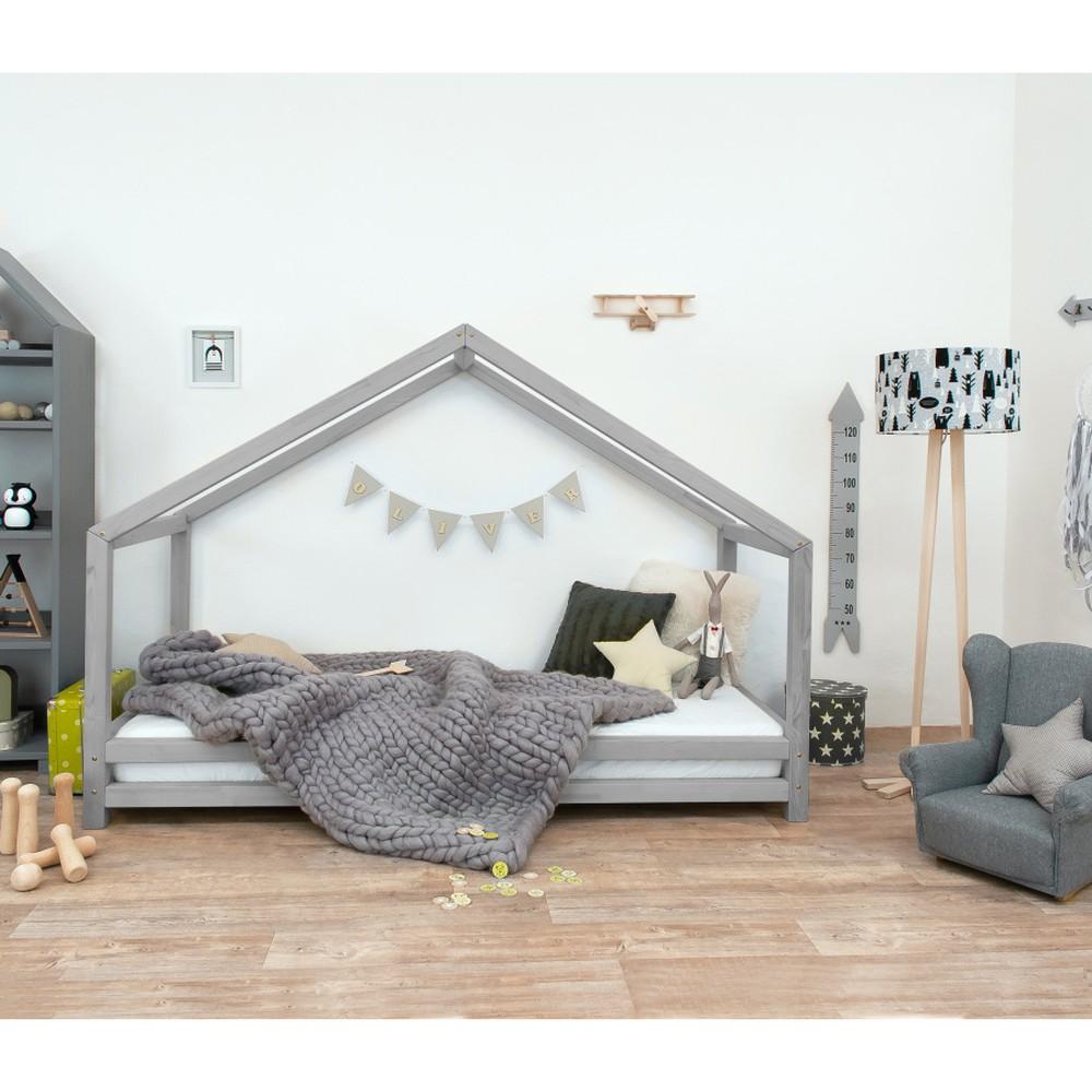 Sivá detská posteľ z lakovaného smrekového dreva Benlemi Sidy, 90 × 200 cm