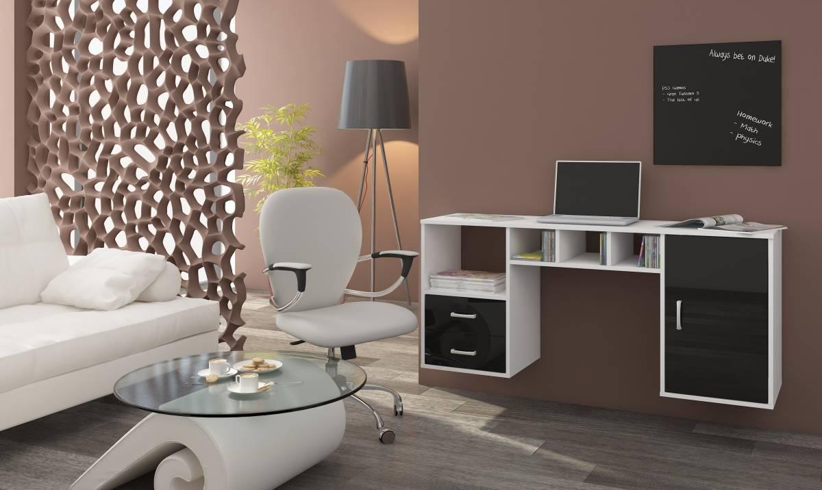PC stolík Hanger biela + lesk čierny