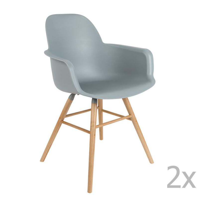 Sada 2 svetlosivých stoličiek s operadlom Zuiver Albert Kuip