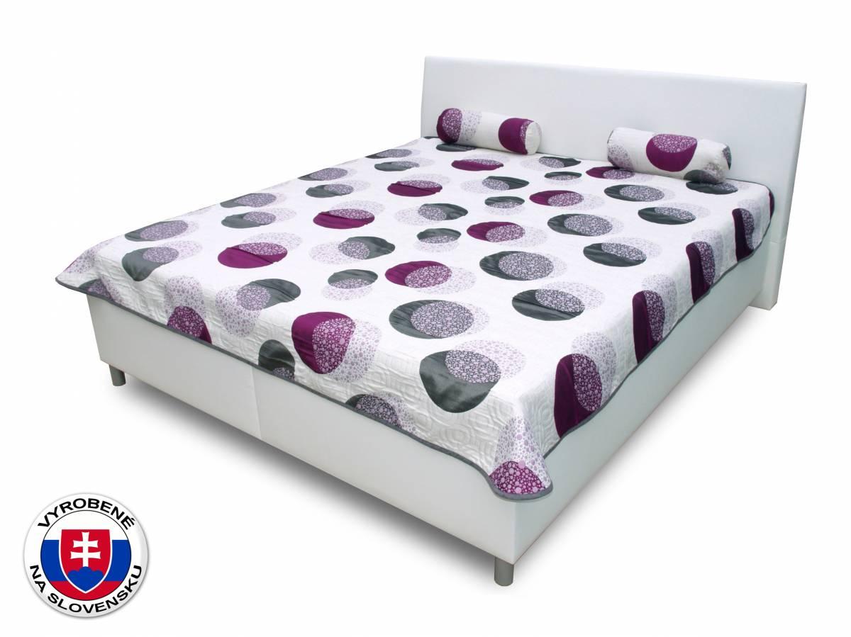 Manželská posteľ 180 cm Benab Mona Azukar fialový/Eko biela (s roštami a matracmi DUO FLEX)