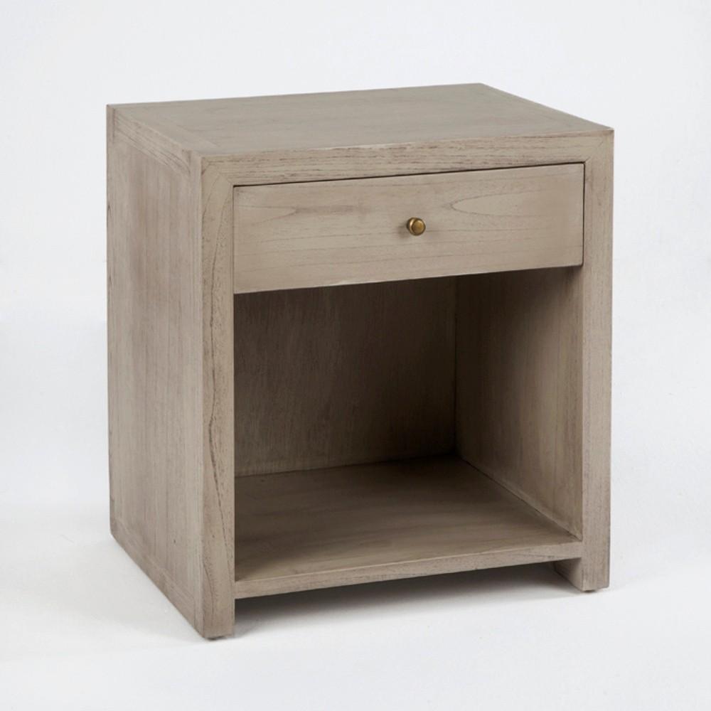 Sivý drevený nočný stôl so zásuvkou Thai Natura, 50×55 cm