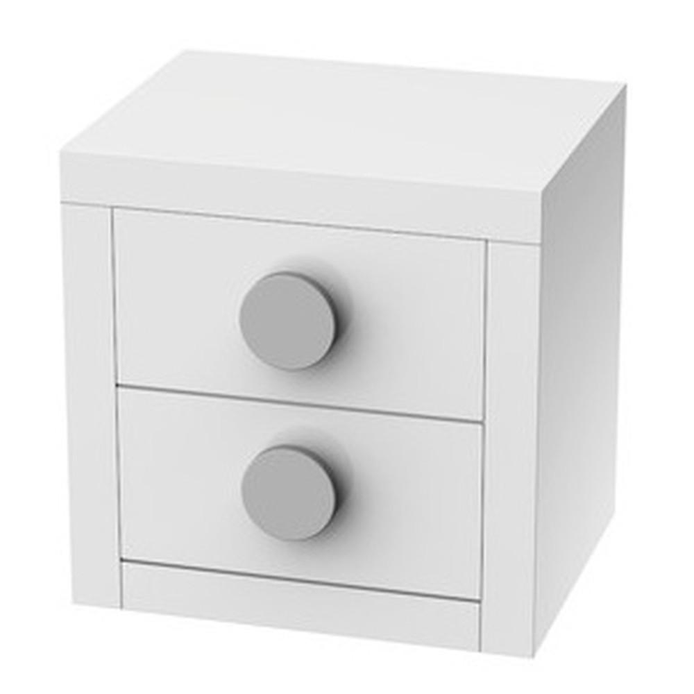 Biely nočný stolík s 2 zásuvkami Trébol Mobiliario Sport
