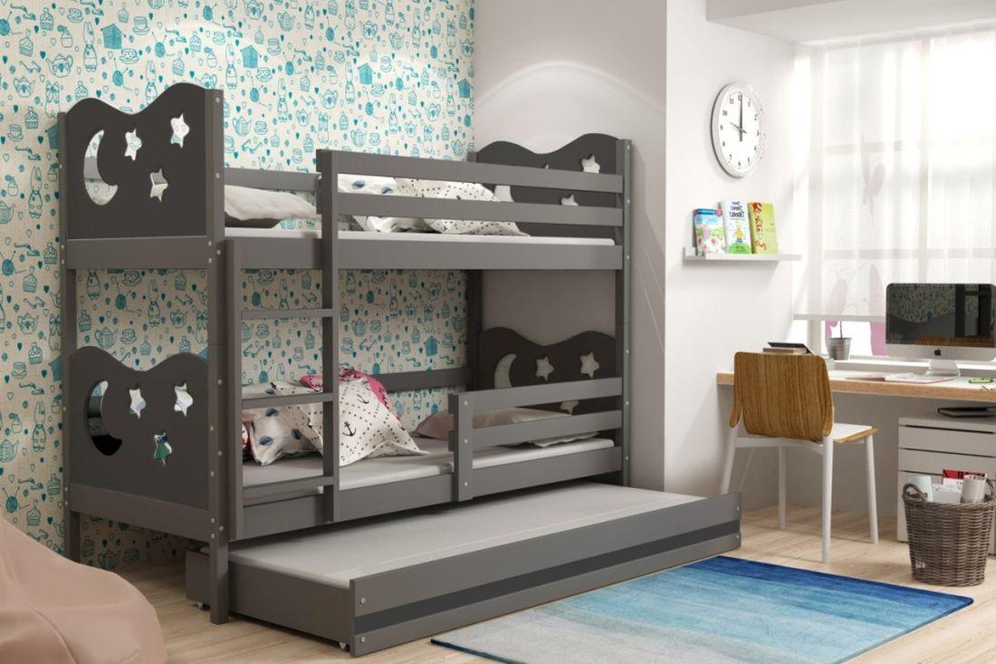 Poschodová posteľ KAMIL 3 + matrac + rošt ZADARMO, 90x200, grafit/grafitová