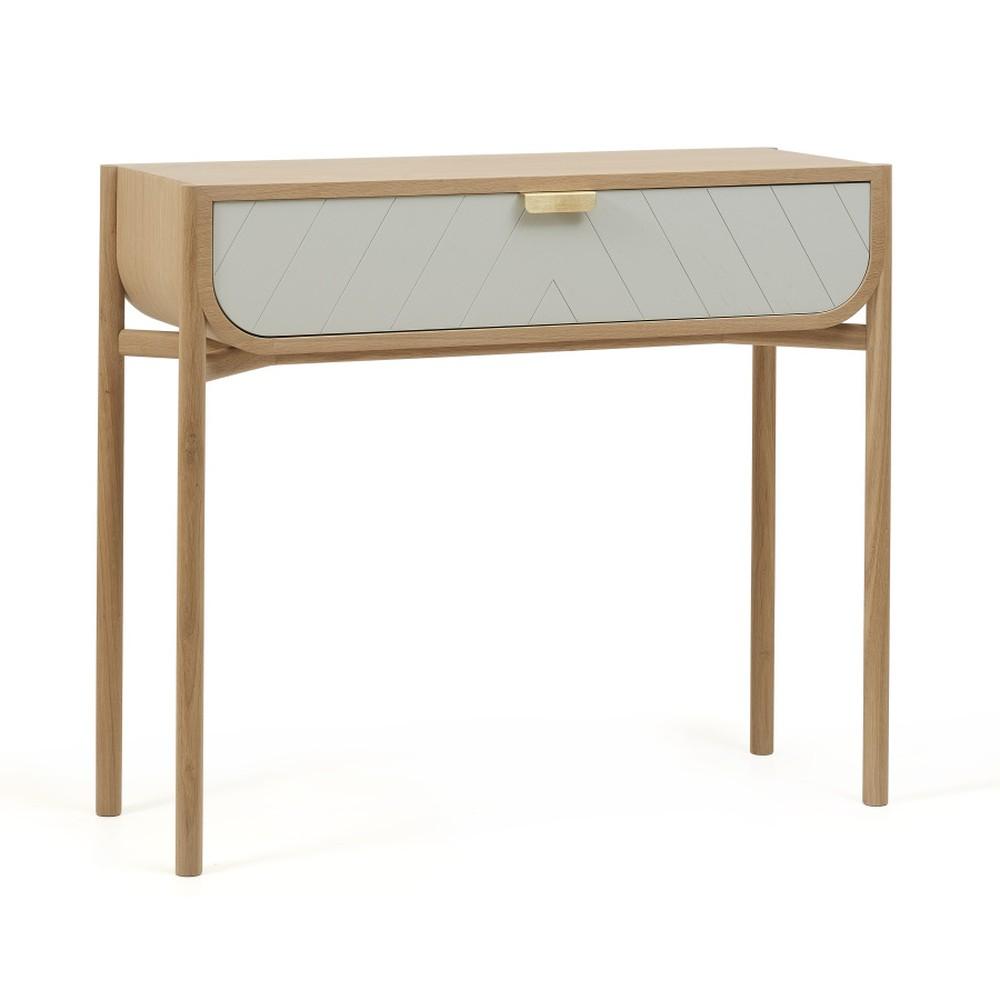 Konzolový stolík z dubového dreva s bielou zásuvkou HARTÔ Marius