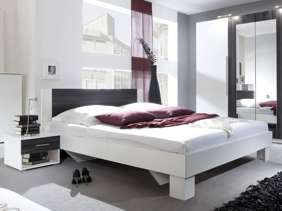 Manželská posteľ 180 cm Typ 52 (biela + orech) (s noč. stolíkmi)