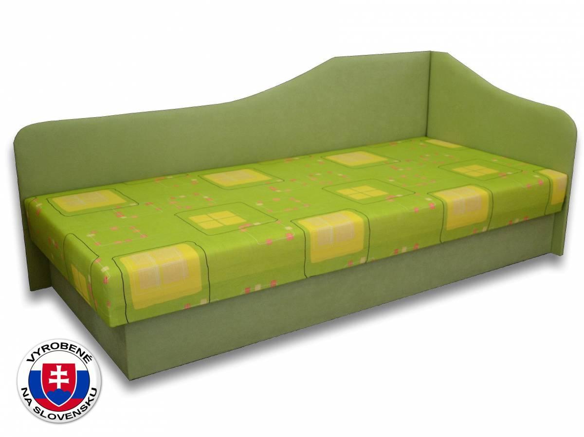 Jednolôžková posteľ (váľanda) 80 cm Lux 87 (Svetlozelená 72 + Kazuo 3) (P)