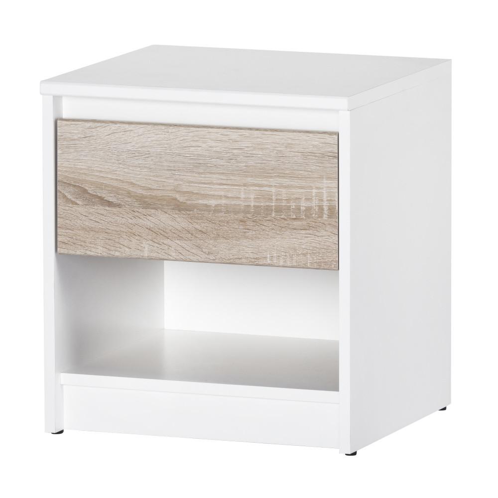 Nočný stolík s dubovým a bielym dekorom Szynaka-Meble Wenecja