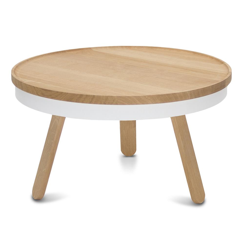 Prírodno-biely odkladací stolík s úložným priestorom Woodendot Batea M