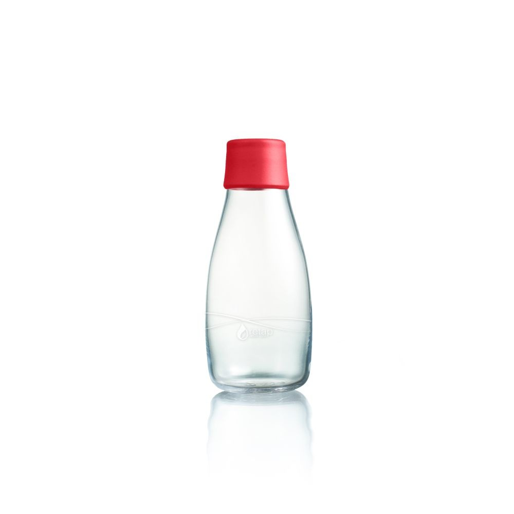 Červená sklenená fľaša ReTap s doživotnou zárukou, 300ml