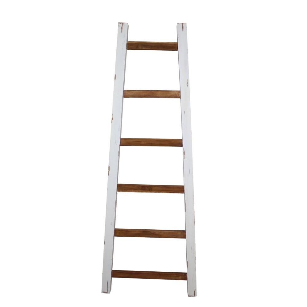 Biely dekoratívny rebrík z teakového dreva HSM Collection Tangga, 150cm