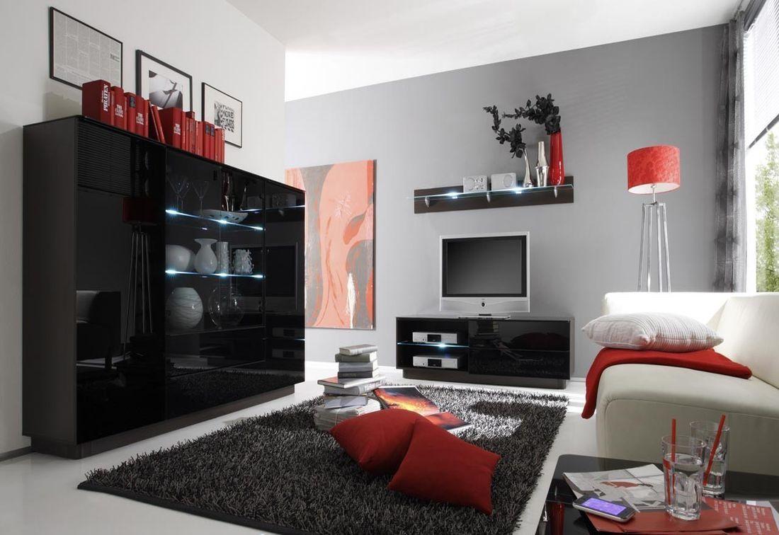 Obývacia zostava WOMO TG III-vysoká komoda, RTV komoda dlhá, polička dlhá, wenge / čierna lesk