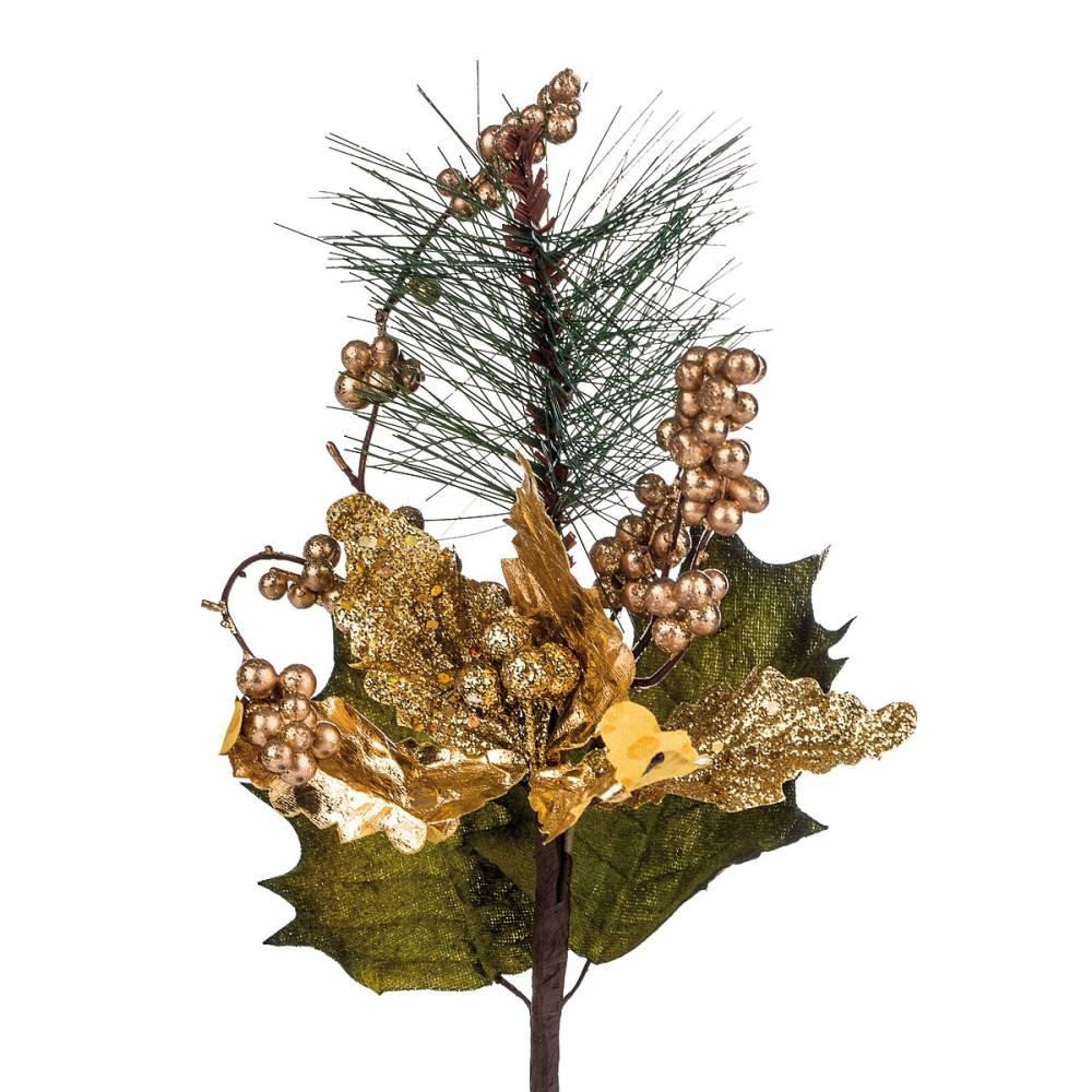 Umelá kytica Poinsettia s bobuľami, zlatá