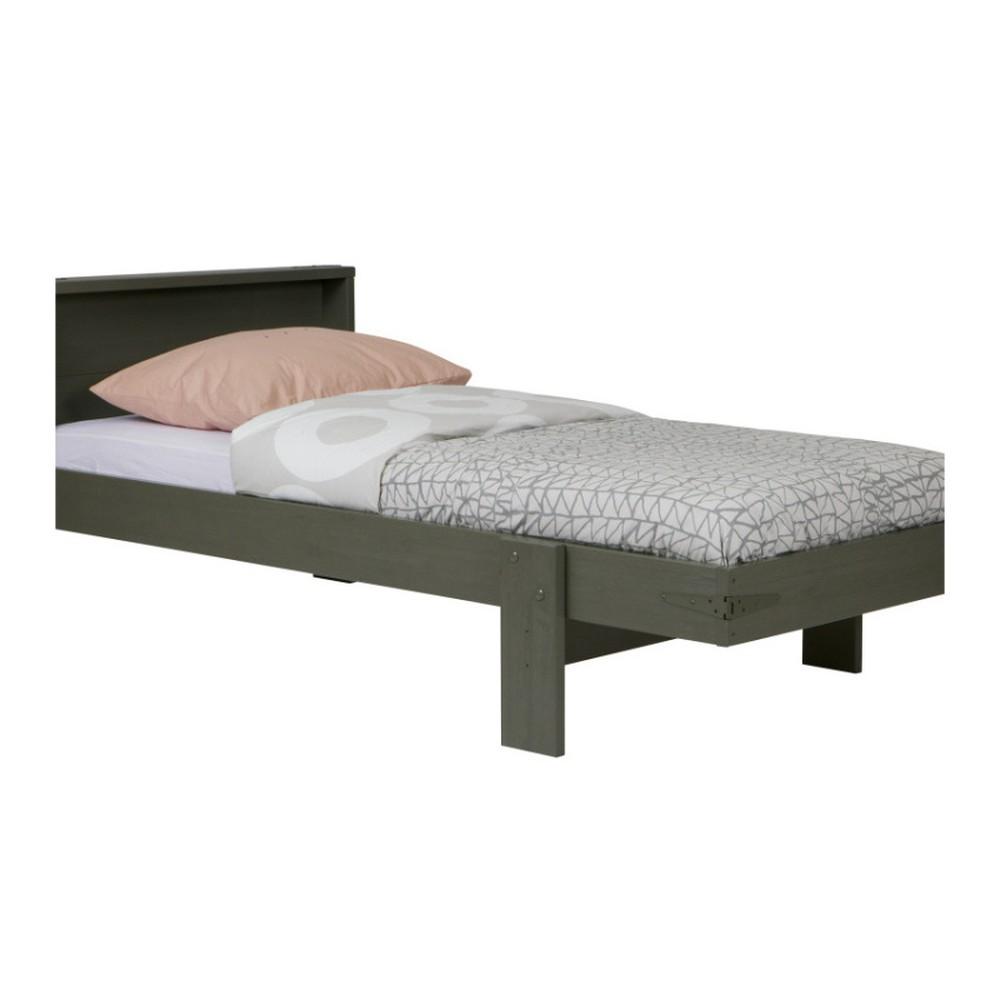 Zelená posteľ z borovicového dreva s úložným priestorom De Eekhoorn Derk