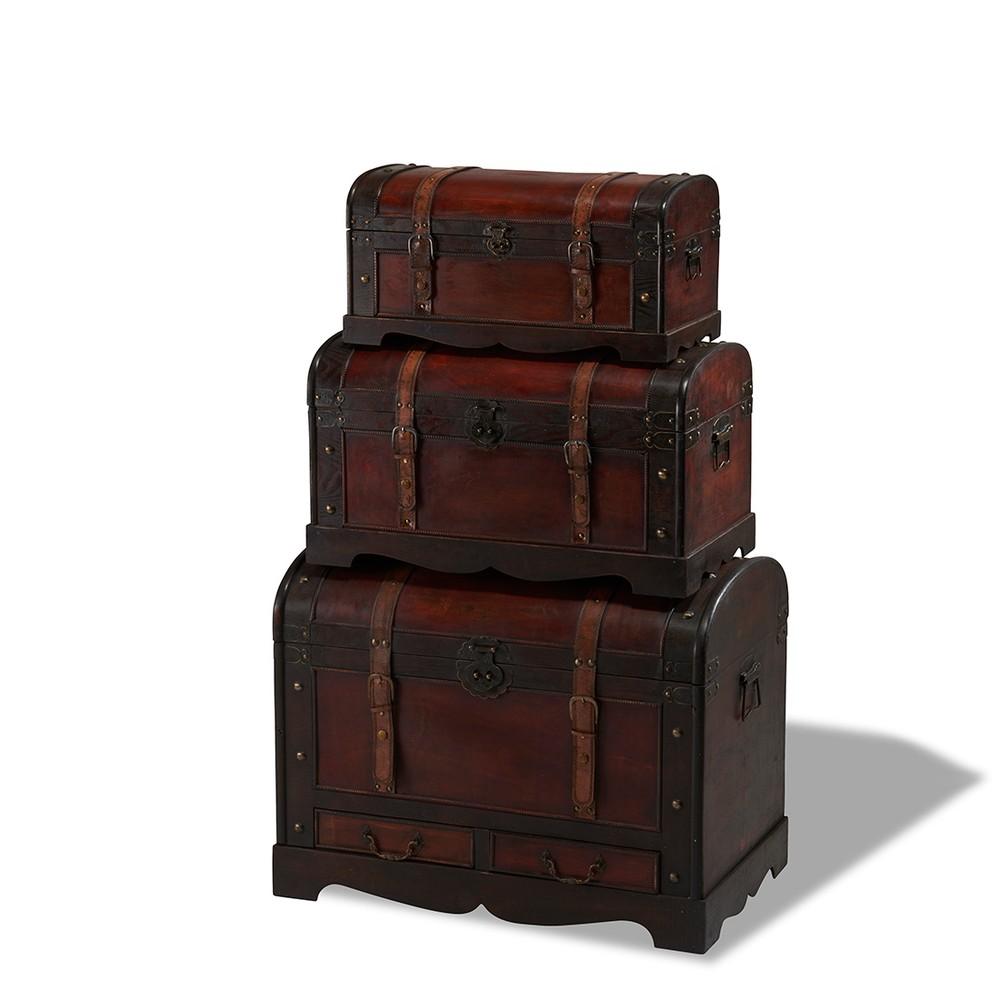 Sada 3 drevených dekoratívnych truhlíc Knuds Trunks Rustic