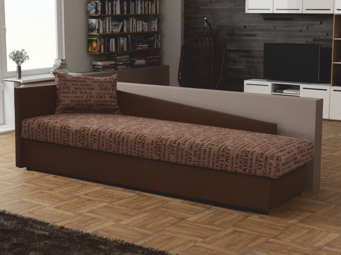 Jednolôžková posteľ (váľanda) 80 cm Judit (hnedá) (s úl. priestorom) (Ľ)