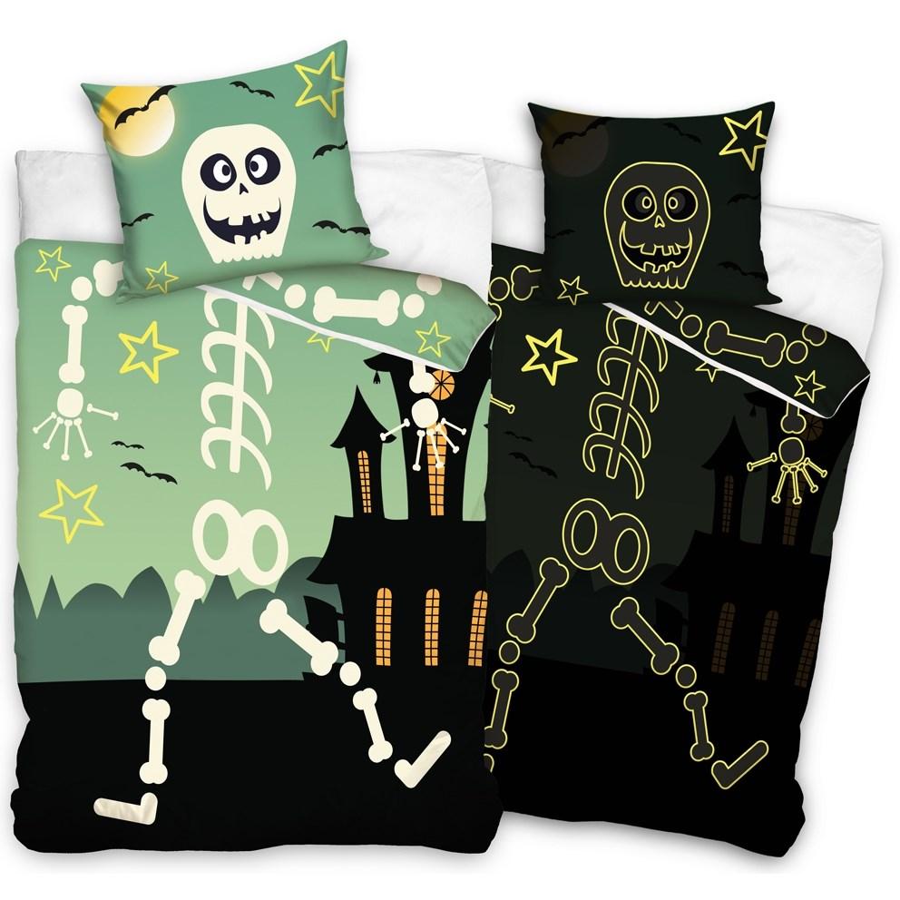 TipTrade Bavlnené obliečky Halloween Kostlivec, 140 x 200 cm, 70 x 80 cm