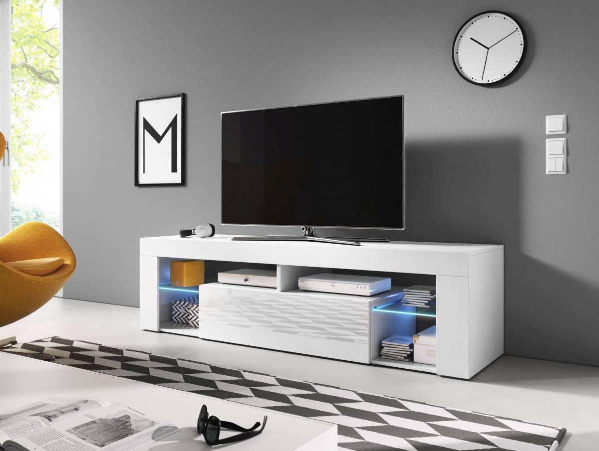 TV stolík/skrinka Everest (biely lesk + biela matná)