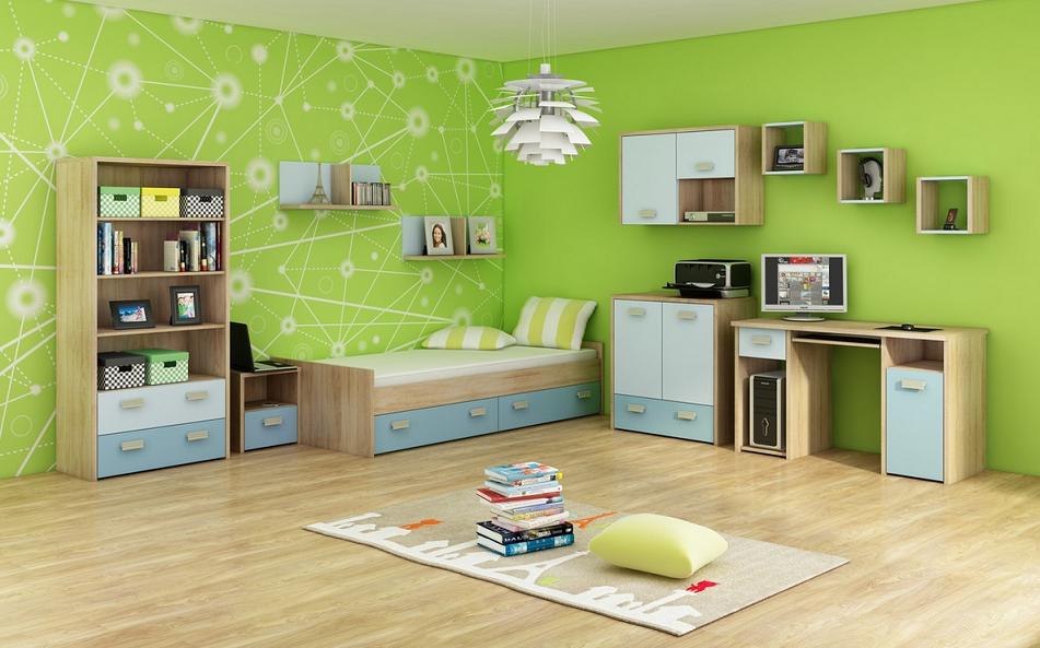 Detská izba KITTY 3   Farba: Dub sonoma svetlá / blankytná / modrá