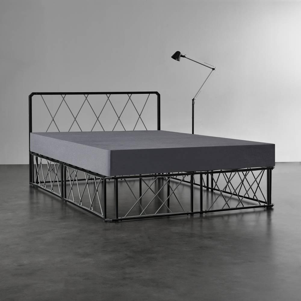 e4440c300cce  en.casa ® Kovová manželská posteľ - 140 x 200 cm - čierna. Manželské  postele