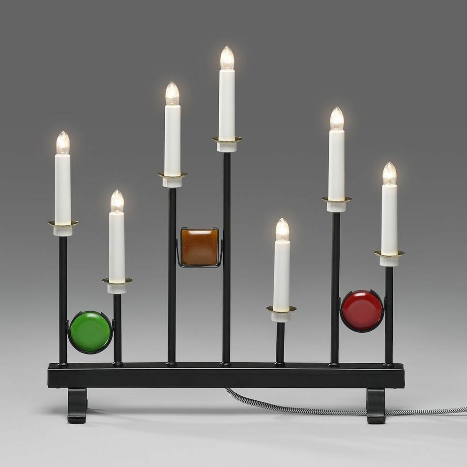 Kovový svietnik Dekor 7 x 24 V, čierna